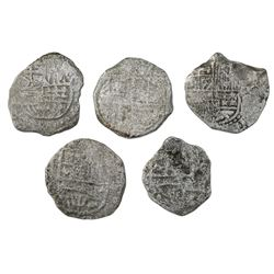 Lot of five Potosi, Bolivia, cob 4 reales, Philip III, assayers not visible, Grade 4, certificates m