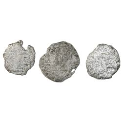 Lot of three Potosi, Bolivia, cob 4 reales, Philip III, assayers not visible, Grade 5.