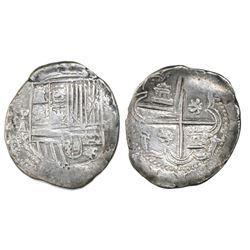 Potosi, Bolivia, cob 2 reales, Philip II, assayer A, Grade 1, ex-Atocha Research Collection.