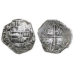 Potosi, Bolivia, cob 2 reales, Philip III, assayer R (curved leg), Grade-1 quality but Grade 2 in da