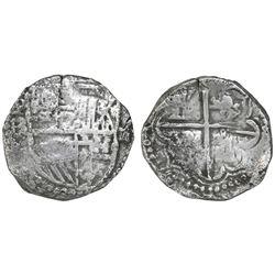 Potosi, Bolivia, cob 2 reales, Philip III, assayer RL (curved leg), Grade-2 quality but Grade 3 in d