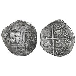 Potosi, Bolivia, cob 2 reales, Philip III, assayer Q, Grade-1 quality but Grade 2 in database, certi