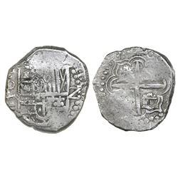 Potosi, Bolivia, cob 2 reales, Philip III, assayer C/Q (rare), Grade-1 quality but Grade 3 in databa