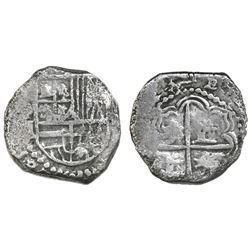 Potosi, Bolivia, cob 2 reales, Philip III, assayer M, Grade-1 quality but Grade 3 in database, certi