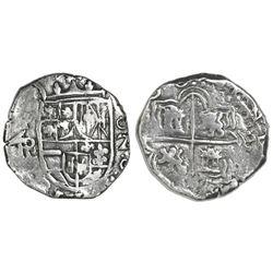 Potosi, Bolivia, cob 2 reales, (1)618PAL, rare, Grade 1.