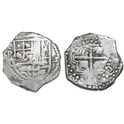 Potosi, Bolivia, cob 2 reales, Philip III, assayer T, Grade-1 quality but Grade 3 in database, certi