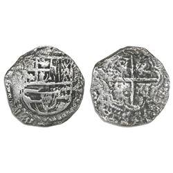 Potosi, Bolivia, cob 2 reales, Philip III, assayer not visible, Grade 2, certificate missing.