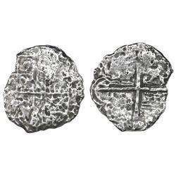 Potosi, Bolivia, cob 2 reales, Philip III, assayer not visible, Grade 4.