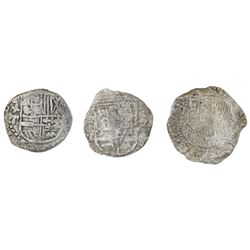 Lot of three Potosi, Bolivia, cob 2 reales, Philip II and III, assayers B and T, Grade 3, certificat
