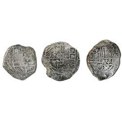 Lot of three Potosi, Bolivia, cob 2 reales, Philip III, assayers not visible, Grade 3, certificates