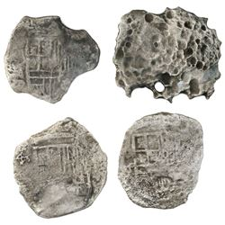 Lot of four Mexico City, Mexico, cob 4 reales, Philip III, assayers not visible, Grades 3 and 4 (two