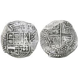 Potosi, Bolivia, cob 8 reales, Philip III, assayer T, quadrants of cross transposed, Grade 1, certif