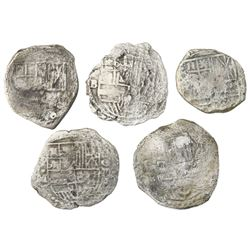 Lot of five Potosi, Bolivia, cob 8 reales, Philip III, various assayers (where visible), Grade 3, ce