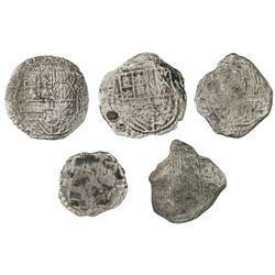Lot of five Potosi, Bolivia, cob 8 reales, Philip III, various assayers (where visible), Grade 3, ce