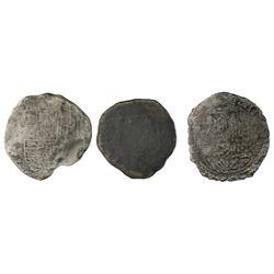 Lot of three Potosi, Bolivia, cob 8 reales, Philip II and III, assayers not visible, Grade 4, certif