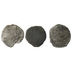 Lot of three Potosi, Bolivia, cob 8 reales, Philip II and III, assayers not visible, Grade 4, certif