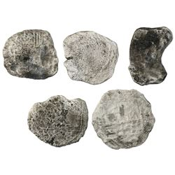 Lot of five Potosi, Bolivia, cob 8 reales, Philip III, assayers not visible, Grade 4, certificates m