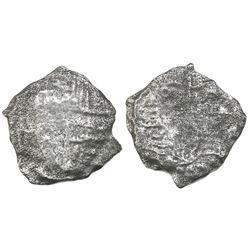 Potosi, Bolivia, cob 4 reales, Philip III, assayer not visible, Grade 5.