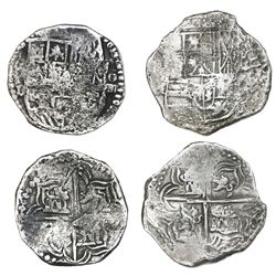 Lot of two Potosi, Bolivia, cob 4 reales, Philip II and III, assayers B and R (curved leg), Grade-2