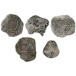 Lot of five Potosi, Bolivia, cob 4 reales, Philip III, assayers not visible, Grade 4, certificates m
