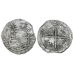 "Potosi, Bolivia, cob 8 reales, Philip III, assayer not visible, denomination as ""O-III-V."""
