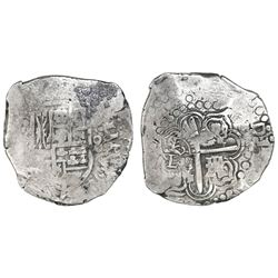 Potosi, Bolivia, cob 8 reales, (16)46, assayer not visible, upper half of shield transposed (very ra