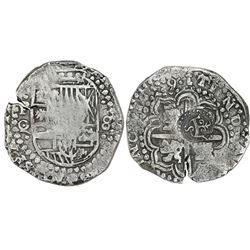 Potosi, Bolivia, cob 8 reales, 1649O/Z, with crowned-S countermark on cross (rare).