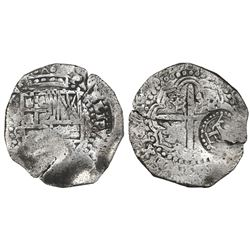 Potosi, Bolivia, cob 8 reales, 1649O, with two countermarks (crowned-L and crowned-dot-T-dot) on cro