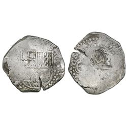 Potosi, Bolivia, cob 8 reales, (16)49(O), with crowned-L countermark on cross.