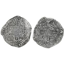 Potosi, Bolivia, cob 8 reales, (164)9O, with two crowned-T countermarks on cross (rare).