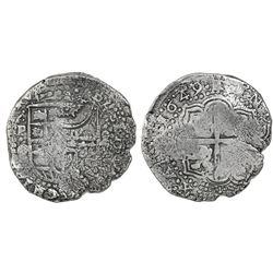 Potosi, Bolivia, cob 8 reales, 1649O, with crowned-(?) countermark on shield.