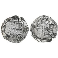 Potosi, Bolivia, cob 8 reales, (16)50O, no countermark (rare).
