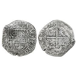 Potosi, Bolivia, cob 8 reales, 1650O, with crowned-O countermark on shield.