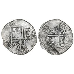 Potosi, Bolivia, cob 8 reales, (1650-51)O, with arms countermark on cross.