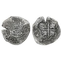 Potosi, Bolivia, cob 8 reales, (1650-51)O, with crown-alone countermark (rare variety) on cross.