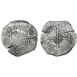 Potosi, Bolivia, cob 8 reales, (1650-51)O, with crowned-L countermark on cross.