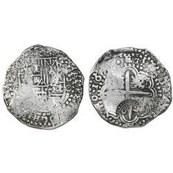 Potosi, Bolivia, cob 8 reales, 16(50-51)O, with crowned-O countermark on cross.