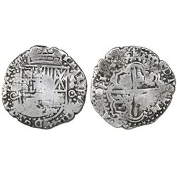 Potosi, Bolivia, cob 8 reales, (1650-51)O, no countermark (rare).