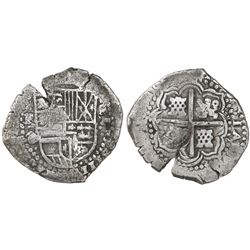 Potosi, Bolivia, cob 8 reales, (1650-51)O, with unidentified countermark on cross.