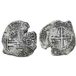 Potosi, Bolivia, cob 8 reales, 1651E, with two crowned-L countermarks (rare) on shield.