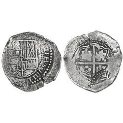 Potosi, Bolivia, cob 8 reales, (16)51E, with arms countermark on cross.
