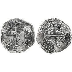 Potosi, Bolivia, cob 8 reales, 1652E, very rare, with unidentified countermark on cross.