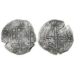 Potosi, Bolivia, cob 8 reales, (1651-2)E, with crowned-1652 countermark (rare) on cross.