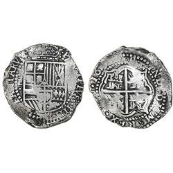 Potosi, Bolivia, cob 8 reales, 165(1-2)E, no countermark (rare).