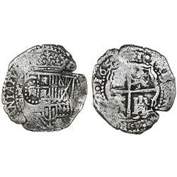Potosi, Bolivia, cob 8 reales, 165(1-2)E, with crown-alone countermark on shield.