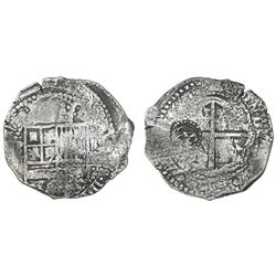 Potosi, Bolivia, cob 8 reales, (1651-2)E, with crowned-L countermark on cross.