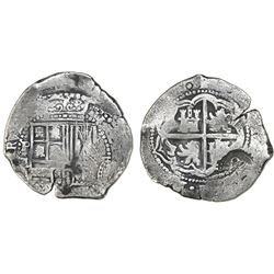 Potosi, Bolivia, cob 8 reales, (1651-2)E, with crowned-o countermark on cross.