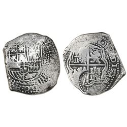 Potosi, Bolivia, cob 8 reales, (1651-52)E, with crowned-(?) countermark on cross.