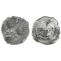 Potosi, Bolivia, cob 8 reales, (1649-52)(O or E), with two crowned-O countermarks on shield (rare).