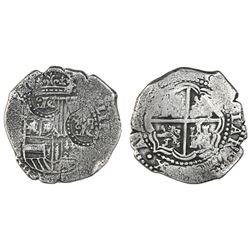 Potosi, Bolivia, cob 8 reales, (1649-52)(O or E), with two crowned-O countermarks on shield (rare).